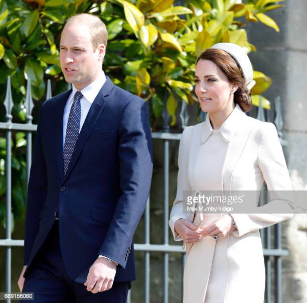 Prince William Duke of Cambridge and Catherine Duchess of Cambridge attend the traditional Easter Sunday church service at St George's Chapel Windsor...