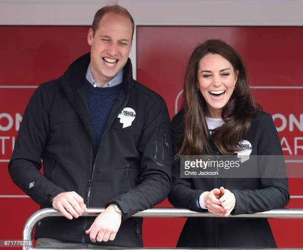 Prince William Duke of Cambridge and Catherine Duchess of Cambridge cheer on runners as they signal the start of the 2017 Virgin Money London...