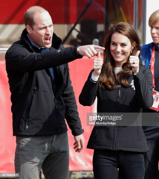 Prince William, Duke of Cambridge and Catherine, Duchess of Cambridge attend the start of the 2017 Virgin Money London Marathon on April 23, 2017 in...