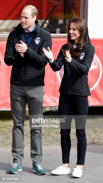 Prince William Duke of Cambridge and Catherine Duchess of Cambridge attend the start of the 2017 Virgin Money London Marathon on April 23 2017 in...