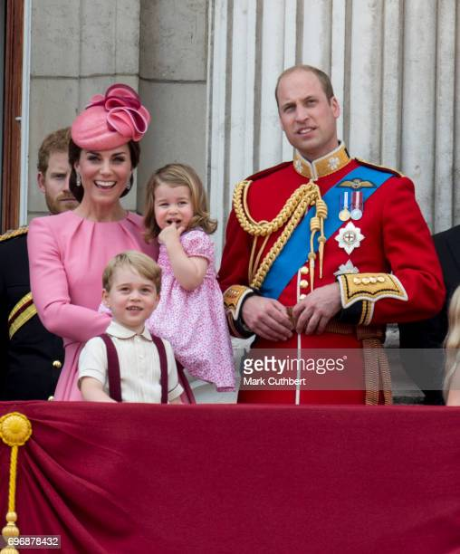 Prince William Duke of Cambridge and Catherine Duchess of Cambridge with Prince George of Cambridge and Princess Charlotte of Cambridge on the...