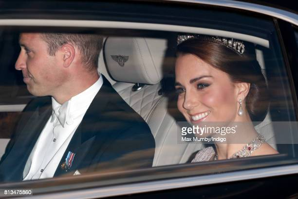 Prince William Duke of Cambridge and Catherine Duchess of Cambridge attend a State Banquet at Buckingham Palace on day 1 of the Spanish State Visit...