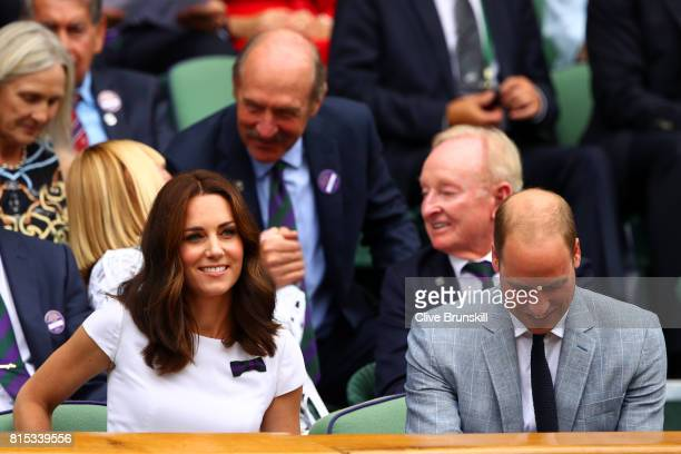Prince William Duke of Cambridge and Catherine Duchess of Cambridge look on from the centre court royal box prior to the Gentlemen's Singles final...