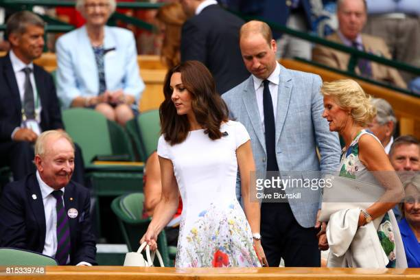 Prince William Duke of Cambridge and Catherine Duchess of Cambridge and welcomed by Gill Brook in the centre court royal box prior to the Gentlemen's...