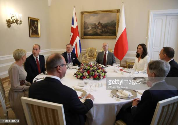 Prince William Duke of Cambridge and Catherine Duchess of Cambridge with President Andrzej Duda First Lady Agata KornhauserDuda and guests at the...