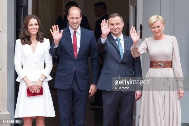 Prince William Duke of Cambridge and Catherine Duchess of Cambridge during the welcoming by the President of the Republic of Poland Andrzej Duda and...