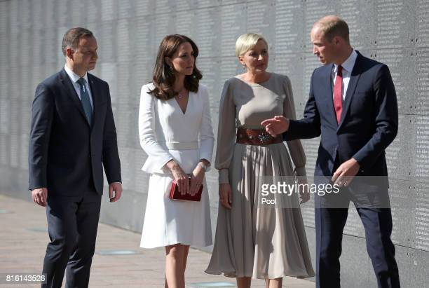 Prince William, Duke of Cambridge and Catherine, Duchess of Cambridge with President Andrzej Duda and his wife, Agata, at the Wall of Remembrance as...