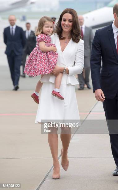 Prince William, Duke of Cambridge and Catherine, Duchess of Cambridge with their children Prince George and Princess Charlotte arrive at Warsaw...