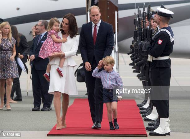Prince William Duke of Cambridge and Catherine Duchess of Cambridge with their children Prince George and Princess Charlotte arrive at Warsaw airport...