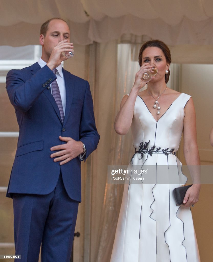 Prince William, Duke of Cambridge and Catherine, Duchess of Cambridge attend the Queen's Birthday Garden Party at the Orangeryeduring an official visit to Poland and Germany on July 17, 2017 in Warsaw, Poland.