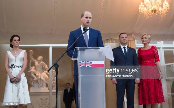 Prince William Duke of Cambridge and Catherine Duchess of Cambridge with President of Poland Andrzej Duda and the first Lady Agata KornhauserDuda...