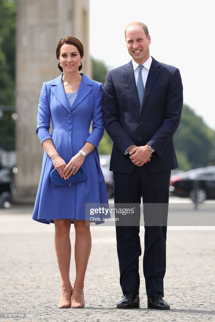 Prince William, Duke of Cambridge and Catherine, Duchess of Cambridge visit the Brandenburg Gate during an official visit to Poland and Germany on July 19, 2017 in Berlin, Germany.