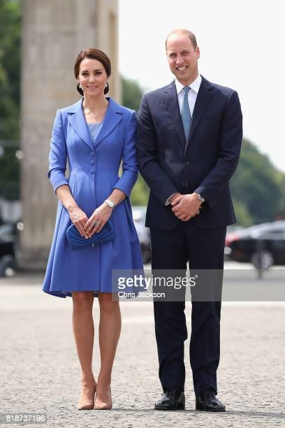 Prince William, Duke of Cambridge and Catherine, Duchess of Cambridge visit the Brandenburg Gate during an official visit to Poland and Germany on...