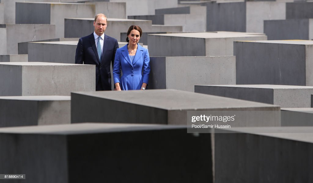 Prince William, Duke of Cambridge and Catherine, Duchess of Cambridge visit the Holocaust Memorial during an official visit to Poland and Germany on July 19, 2017 in Berlin, Germany.