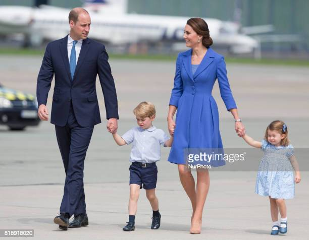 Prince William Duke of Cambridge and Catherine Duchess of Cambridge with their chlidren before departure from Chopin Airport in Warsaw Poland on 19...