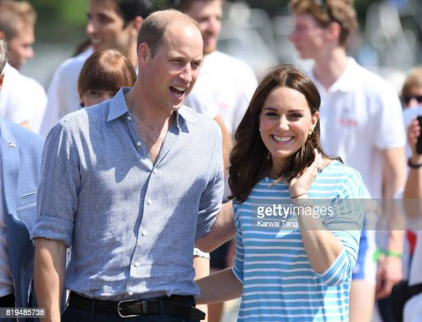 Prince William, Duke of Cambridge and Catherine, Duchess of Cambridge after participating in a rowing race between the twinned town of Cambridge and...
