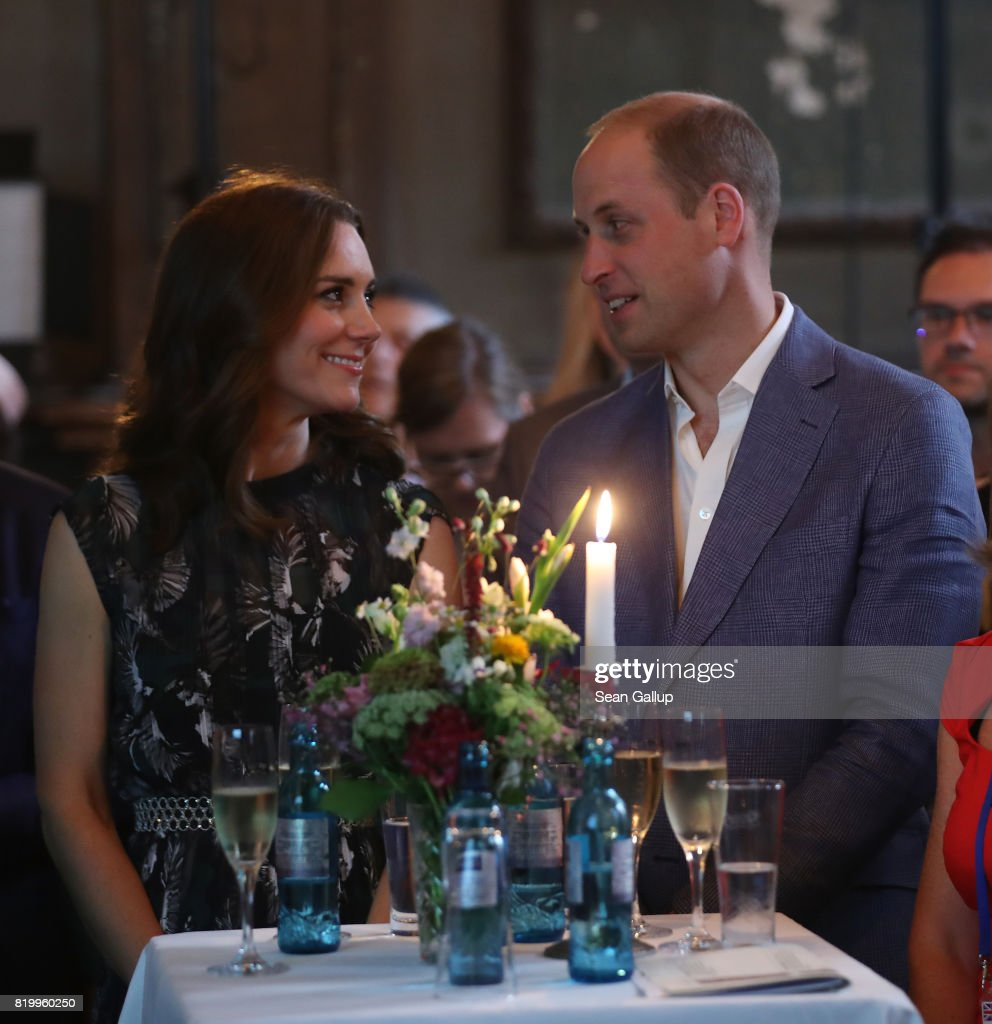 Prince William, Duke of Cambridge, and Catherine, Duchess of Cambridge, attend a reception at Claerchen's Ballhaus dance hall following a day in Heidelberg on the second day of the royal visit to Germany on July 20, 2017 in Berlin, Germany. The royal couple are on a three-day trip to Germany that includes visits to Berlin, Hamburg and Heidelberg.