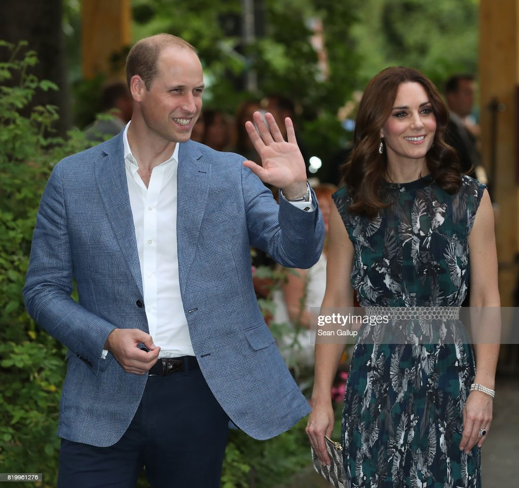 Prince William, Duke of Cambridge, and Catherine, Duchess of Cambridge, arrive at a reception at Claerchen's Ballhaus dance hall following a day in Heidelberg on the second day of the royal visit to Germany on July 20, 2017 in Berlin, Germany. The royal couple are on a three-day trip to Germany that includes visits to Berlin, Hamburg and Heidelberg.