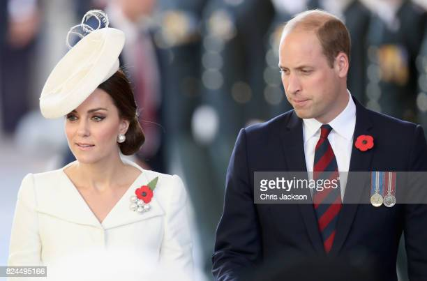 Prince William Duke of Cambridge and Catherine Duchess of Cambridge attend the Last Post ceremony which has taken place every night since 1928 at the...