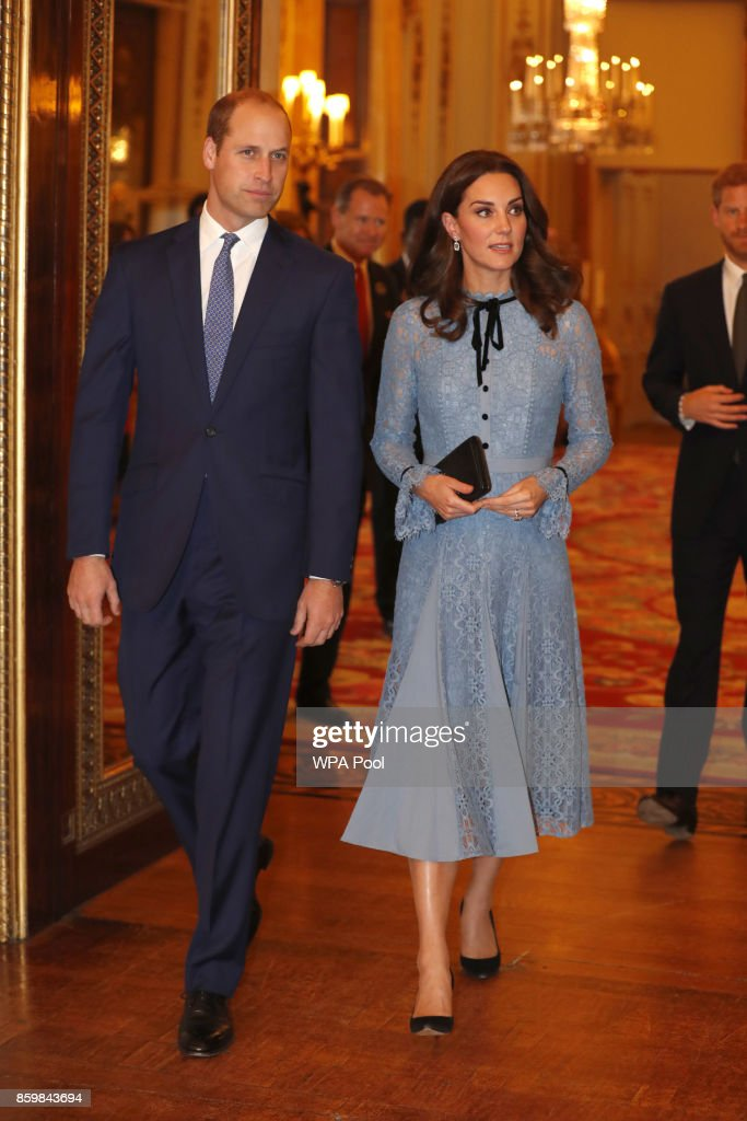 Prince William, Duke of Cambridge and Catherine, Duchess of Cambridge support World Mental Health Day at Buckingham Palace on 10, October 2017 in London, England.