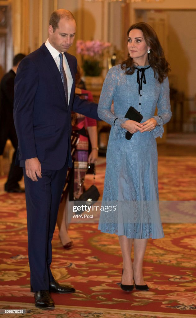 Prince William, Duke of Cambridge and Catherine, Duchess of Cambridge attend a reception on World Mental Health Day to celebrate the contribution of those working in the mental health sector across the UK at Buckingham Palace on October 10, 2017 in London, England.