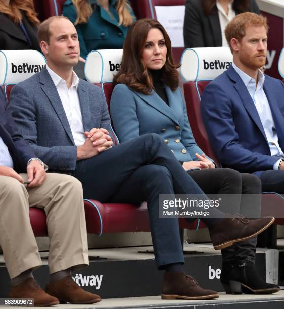 Prince William Duke of Cambridge and Catherine Duchess of Cambridge attend the Coach Core graduation ceremony for more than 150 Coach Core...