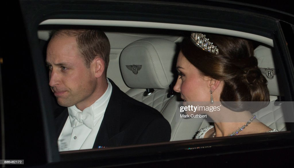 Prince William, Duke of Cambridge and Catherine, Duchess of Cambridge arrive at a Diplomatic Reception at Buckingham Palace on December 5, 2017 in London, England.