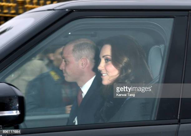 Prince William Duke of Cambridge and Catherine Duchess of Cambridge arrive for the Queen's Christmas lunch at Buckingham Palace on December 20 2017...