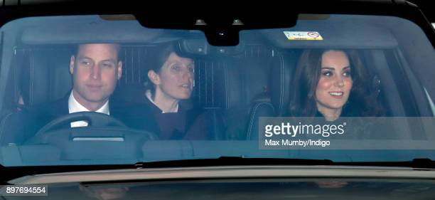 Prince William Duke of Cambridge and Catherine Duchess of Cambridge accompanied by their children's nanny Maria Teresa Borrallo attend a Christmas...