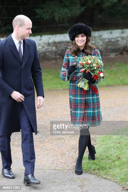 Prince William Duke of Cambridge and Catherine Duchess of Cambridge attend Christmas Day Church service at Church of St Mary Magdalene on December 25...