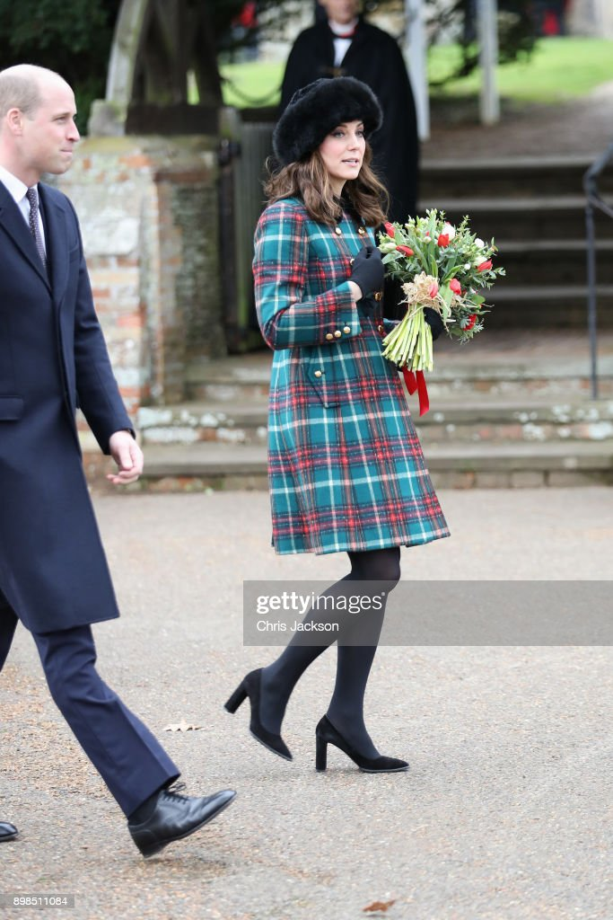 Prince William, Duke of Cambridge, and Catherine, Duchess of Cambridge attend Christmas Day Church service at Church of St Mary Magdalene on December 25, 2017 in King's Lynn, England.