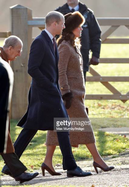 Prince William Duke of Cambridge and Catherine Duchess of Cambridge attend Sunday service at St Mary Magdalene Church Sandringham on January 7 2018...