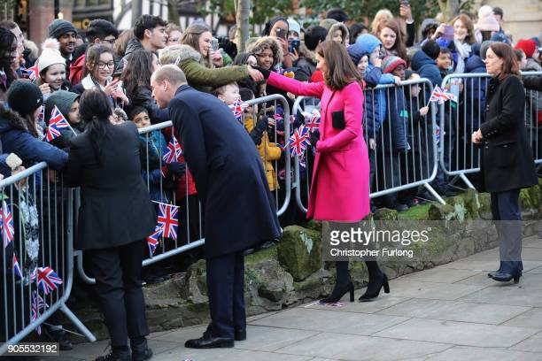 Prince William Duke of Cambridge and Catherine Duchess of Cambridge meet well wishers as they arrive for their visit to Coventry Cathedral during...