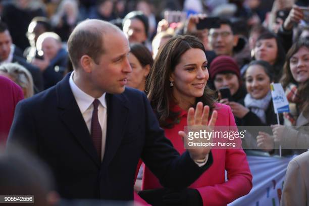Prince William Duke of Cambridge and Catherine Duchess of Cambridge arrive for their visit to Coventry Cathedral during their visit to the city on...