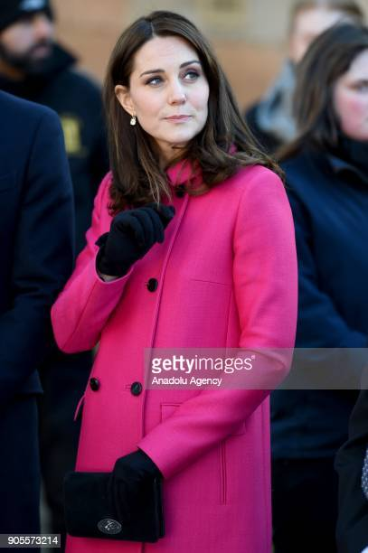 Prince William , Duke of Cambridge and Catherine , Duchess of Cambridge arrive for their visit to Coventry Cathedral during their visit to the city...
