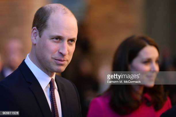 Prince William Duke of Cambridge and Catherine Duchess of Cambridge visit Coventry University Science and Health Building on January 16 2018 in...