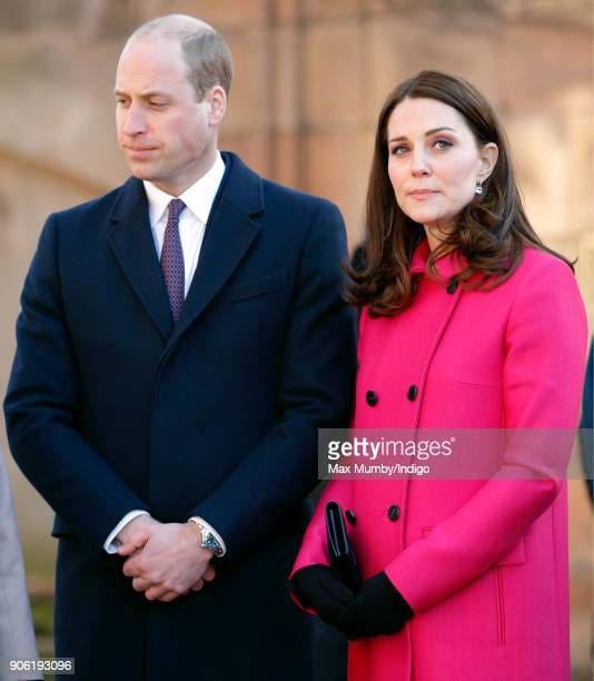 Prince William Duke of Cambridge and Catherine Duchess of Cambridge visit Coventry Cathedral on January 16 2018 in Coventry England