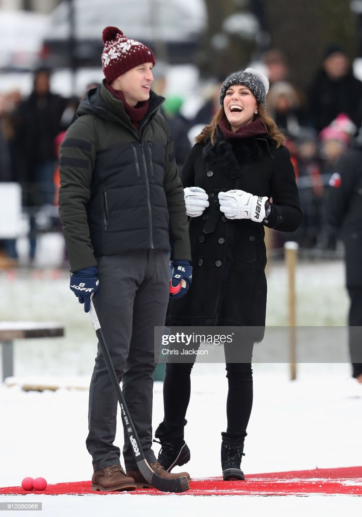 Prince William, Duke of Cambridge and Catherine, Duchess of Cambridge laugh as they attend a Bandy hockey match where they will learn more about the popularity of the sport during day one of their Royal visit to Sweden and Norway on January 30, 2018 in Stockholm, Sweden.