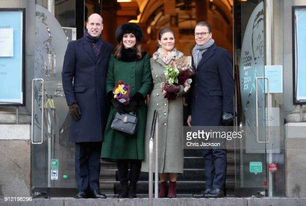 Prince William Duke of Cambridge and Catherine Duchess of Cambridge with Crown Princess Victoria of Sweden and Prince Daniel of Sweden pose as they...