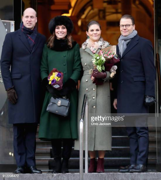 Prince William Duke of Cambridge and Catherine Duchess of Cambridge with Crown Princess Victoria of Sweden and Prince Daniel of Sweden pose after...