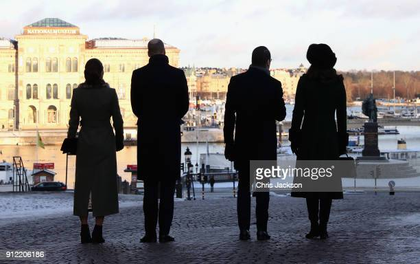 Prince William Duke of Cambridge and Catherine Duchess of Cambridge with Crown Princess Victoria of Sweden and Prince Daniel of Sweden walk through...