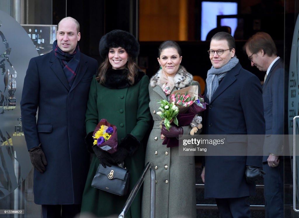 Prince William, Duke of Cambridge and Catherine, Duchess of Cambridge with Crown Princess Victoria of Sweden and Prince Daniel of Sweden pose after they walked through the cobbled streets of Stockholm from the Royal Palace to the Nobel Museum during day one of their Royal visit to Sweden and Norway on January 30, 2018 in Stockholm, Sweden.