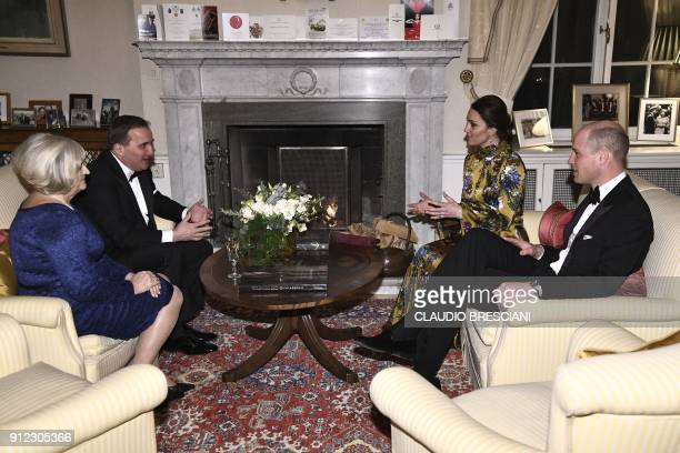 Prince William Duke of Cambridge and Catherine Duchess of Cambridge talk to Sweden's Prime Minister Stefan Lofven and his wife Ulla Lofven prior to a...