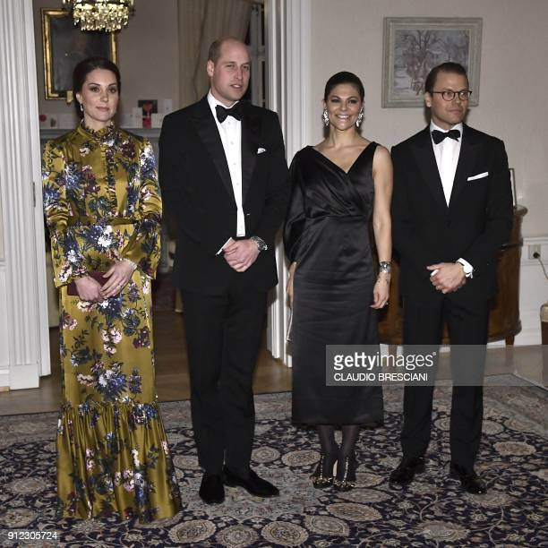 Prince William Duke of Cambridge and Catherine Duchess of Cambridge pose for a picture beside Crown Princess Victoria and Prince Daniel prior to a...