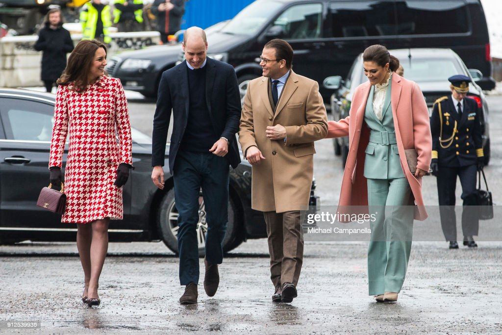 Prince William, Duke of Cambridge and Catherine, Duchess of Cambridge arrive at Karolinska Hospital alongside Princess Victoria and Prince Daniel of Sweden on January 31, 2018 in Stockholm, Sweden.