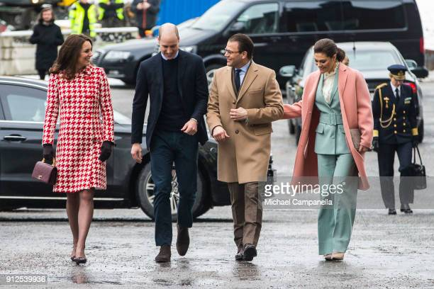 Prince William Duke of Cambridge and Catherine Duchess of Cambridge arrive at Karolinska Hospital alongside Princess Victoria and Prince Daniel of...