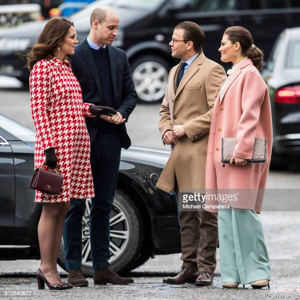 Prince William Duke of Cambridge and Catherine Duchess of Cambridge arrive at Karolinska Hospital and are greeted by Princess Victoria and Prince...