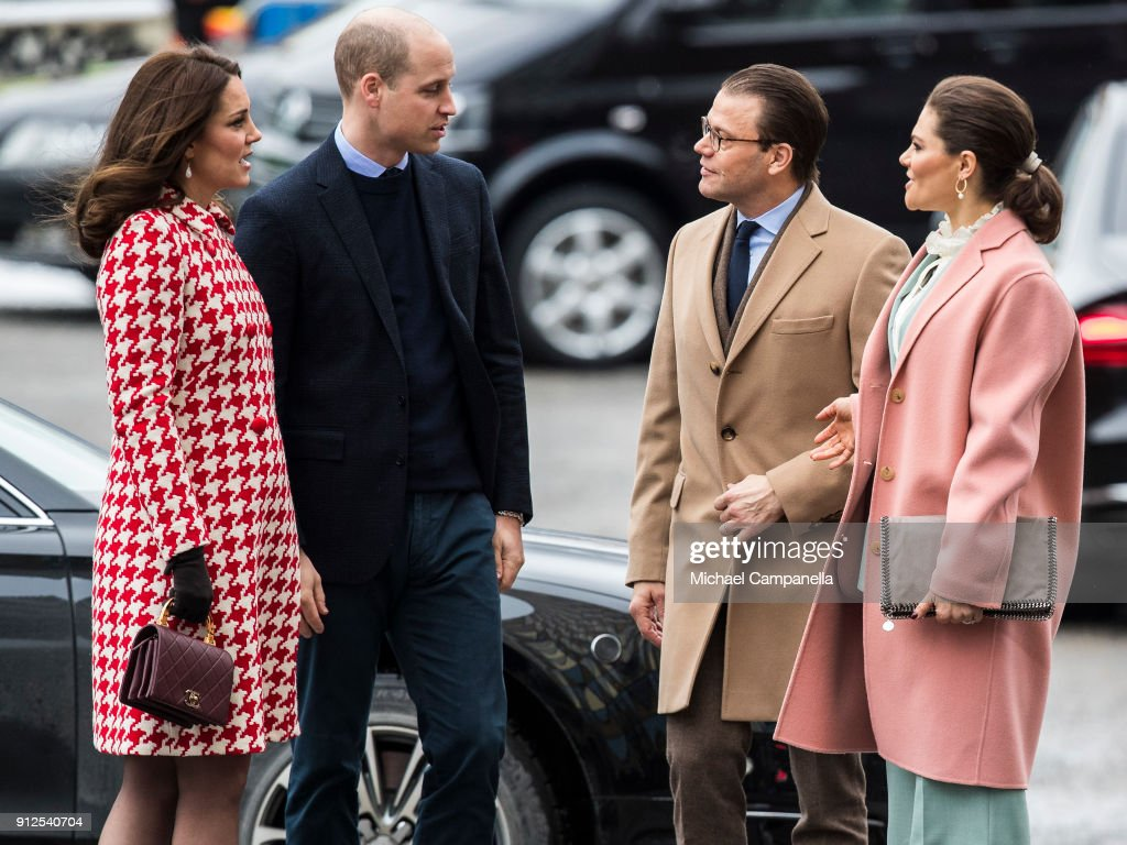 Prince William, Duke of Cambridge and Catherine, Duchess of Cambridge arrive at Karolinska Hospital and are greeted by Princess Victoria and Prince Daniel of Sweden on January 31, 2018 in Stockholm, Sweden.