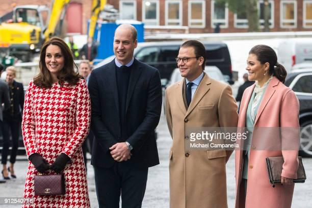 Prince William Duke of Cambridge and Catherine Duchess of Cambridge arrive at Karolinska Hospital alongside Princess Victoria and Prince Daniel of...