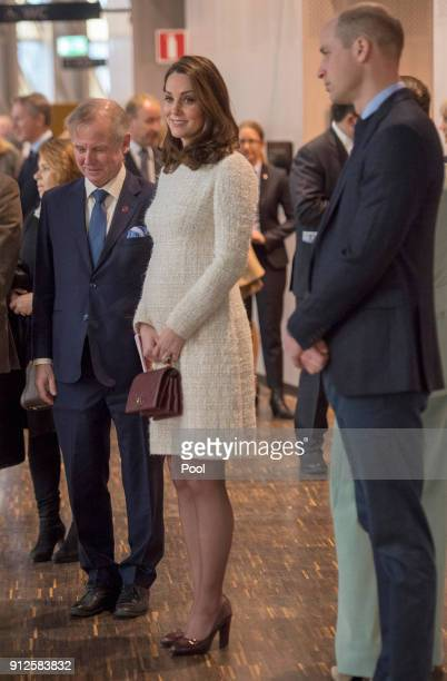 Prince William Duke of Cambridge and Catherine Duchess of Cambridge meet with academics and practitioners to discuss Sweden's approach to managing...